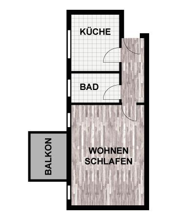 Grundriss 1-Raum-Wohnung
