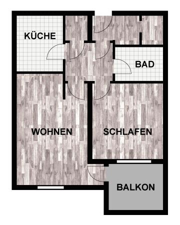 Grundriss 2-Raum-Wohnung