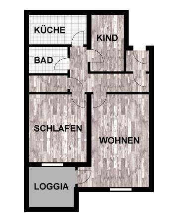 Grundriss 3-Raum-Wohnung